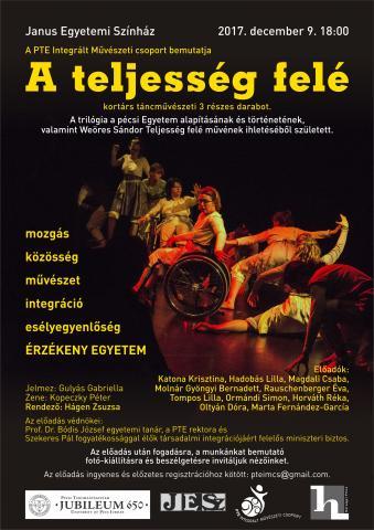 A képen az esemény plakátja látható, melyen a táncosok korhű ruhában egy dinamikus mozdulatban vannak megörökítve. A kép közepén kiemelkedik  kerekesszékes táncos. A kép körül az előadásra vonatkozó információk és hívószavak olvashatók.